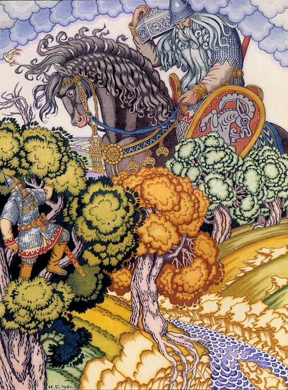 Russian fairy tale artist, Ivan Bilibin. I'd love to illustrate a children's book with art similar to this!