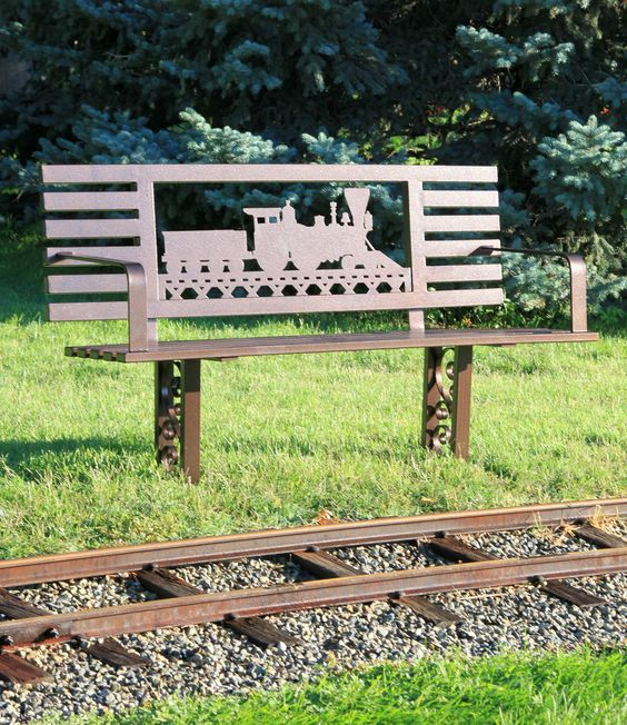 Old Time Freight Train metal bench design. Make your own custom metal benches with a PlasmaCAM CNC metal cutting machine! #Outdoorfurniture