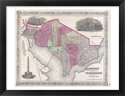 1864+Johnson+Map+of+Washington+D.C.+and+Georgetown+at+FramedArt.com