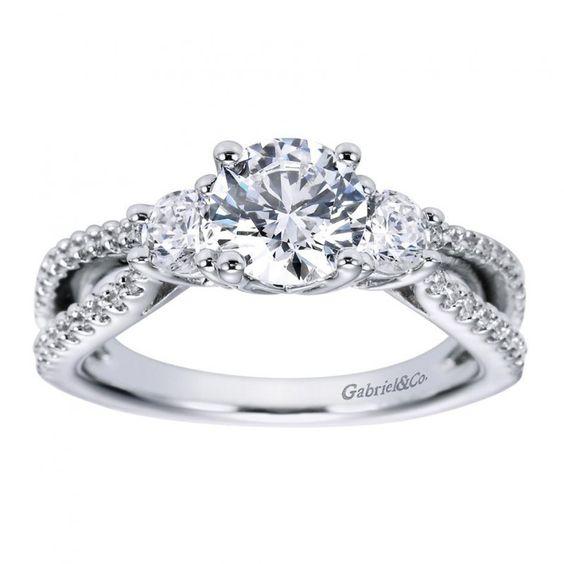 Three Stone Split Shank Diamond Ring Setting ER5842W44JJ-IGCD