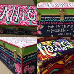 Painted camp trunks by haileymakenzierose on Etsy