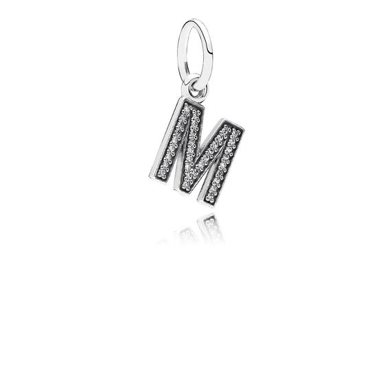 Letter O Silver Dangle With Cubic Zirconia