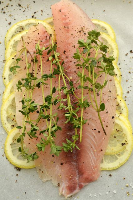 Roberta's Lemon Herb Fish (in parchment paper) Use whatever fresh herbs you like.
