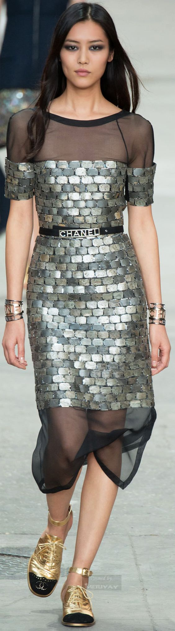 The dress is chanel - This Dress Is One Of The Best Thing On This Runway Enough Already With The Chanel Labeling That Belt And Those Shoes Almost Ruin The Dress