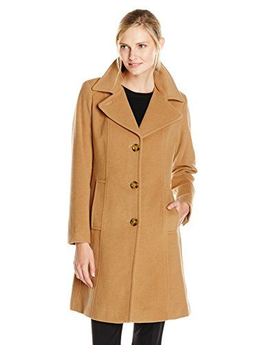 Anne Klein Women&39s Single Breasted Wool Cashmere Coat with Notch