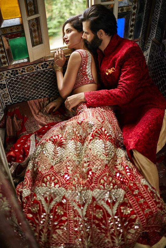 Red and White Bridal Lehenga with Silver Studded Work