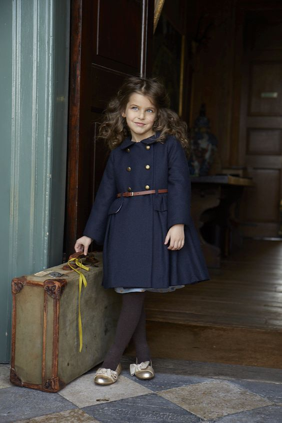 Navy wool coat with volume skirt from Marie Chantal for kidswear ...