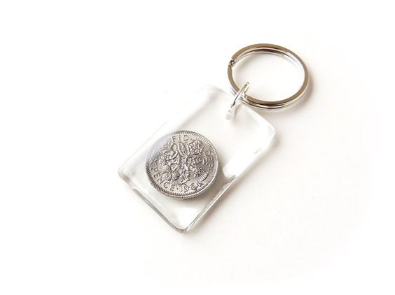 1964 Sixpence Keyring UK Lucky Sixpence Coin by JustKJewellery