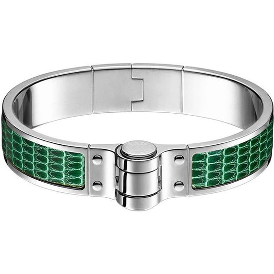 Hermès Charniere Cuir Fin Bracelet ($670) ❤ liked on Polyvore featuring jewelry, bracelets, lizard jewelry, leather bangles, hinged bangle and leather jewelry