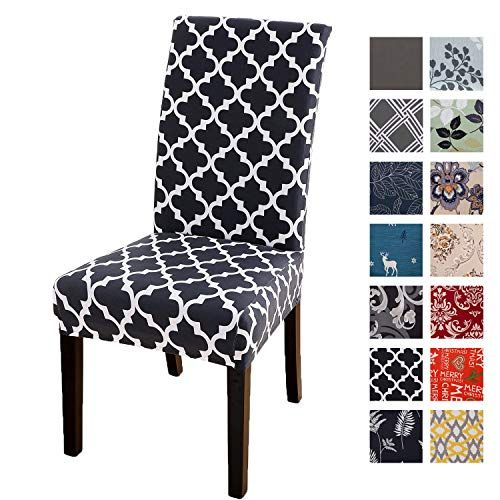 4 Pack Dining Chair Slipcovers Soft Stretch Dining Chair Covers For Kitchen Hotel Table Removable Washable Geometric Printed Compare And Shop The Best Stuff In 2020 Slipcovers For Chairs Dining