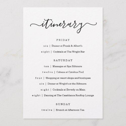 Wedding Bachelorette Party Birthday Itinerary Program Zazzle