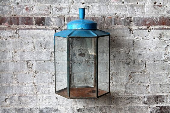 Upcycled Hanging Sconce Glass Terrarium Hand Made Metal and Glass Lantern Vintage Indonesian Tins and Glass Wall Art Specimen Display Blue