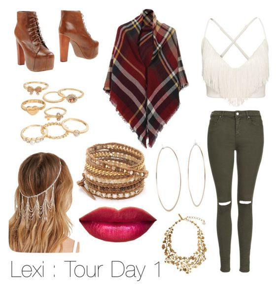 """Lexi : Tour Day 1"" by x-jademurphy-x ❤ liked on Polyvore featuring Topshop, Jeffrey Campbell, Oscar de la Renta, Mudd, Michael Kors, Chan Luu and Forever 21"