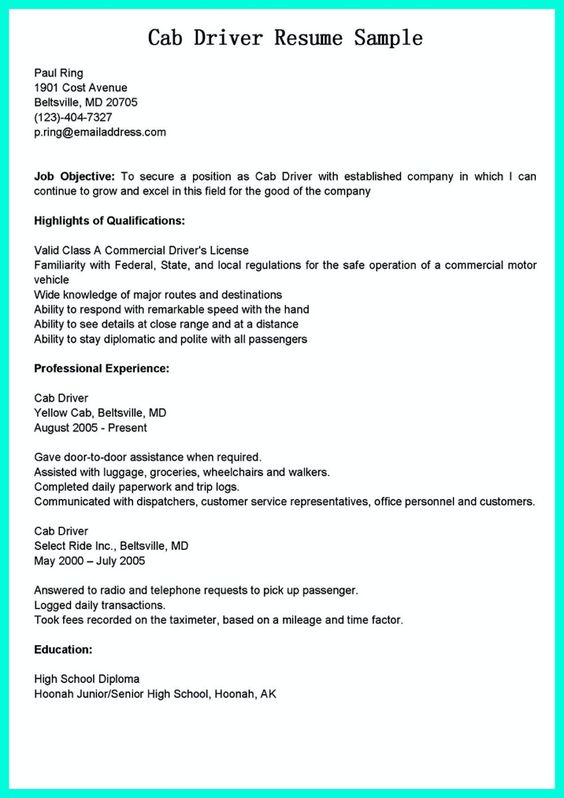 cab driver resume taxi driver resume sample cab driver resume
