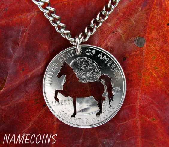 Prancing horse Hand Cut Quarter by NameCoins on Etsy