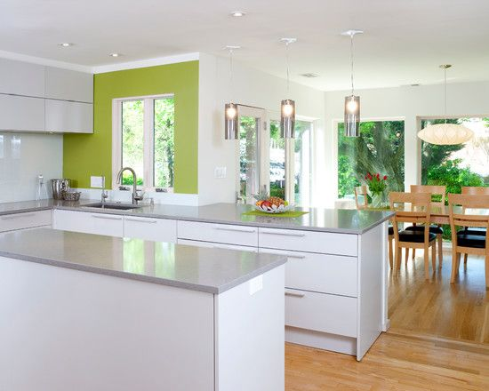 Fabulous White Kitchen Lime Green Accent Bethesda Contemporary Home Jpg 550 440 Pixels Kitchens Inspirations Pinterest Accents Floor Design And