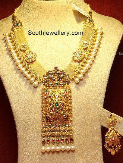Unique Kundan Necklace with Rectangular Pendant photo