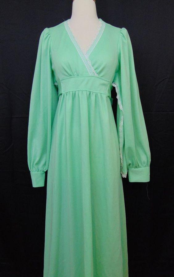 Handmade Vintage Ladies Dress Mint Green Long Sleeve Lace Detail Tie Back #747 #Handmade #EmpireWaist #Formal