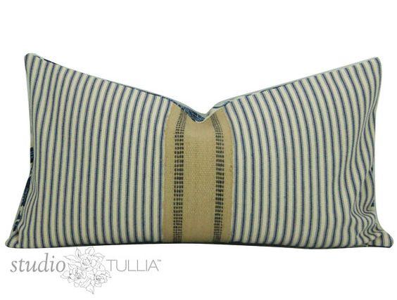 Ticking Pillow Cover - Upholstery Banding - Batik Floral  - Lumbar -   12 x 22 inch - Industrial - Bohemian - ready to ship