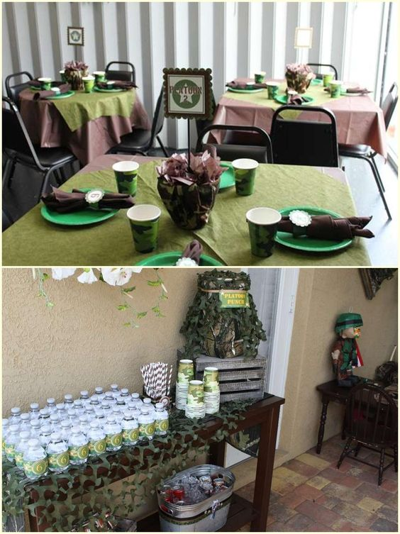 Camo party table ideas blue camo party decorations camo for Army theme party decoration ideas