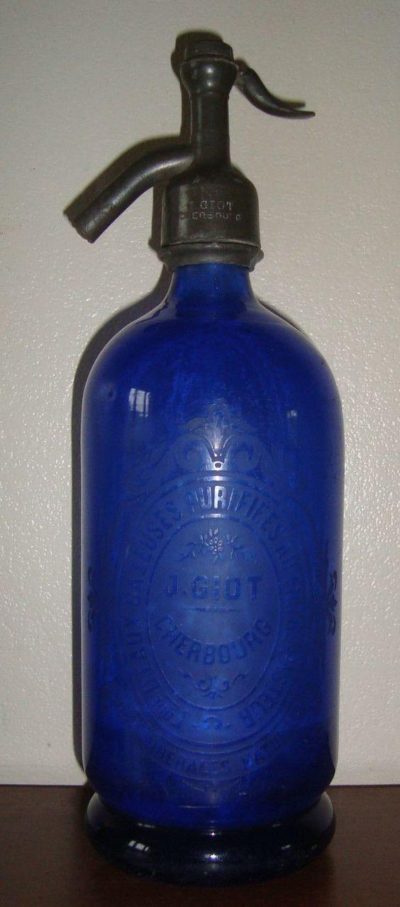 Ancien siphon bouteille a eau de seltz grav e j giot a cherbourg et grav q - Bouteille eau de paris ...