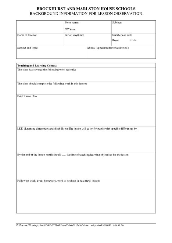 Lesson Plan Observation Template Images Blank Lesson - School counselor lesson plan template
