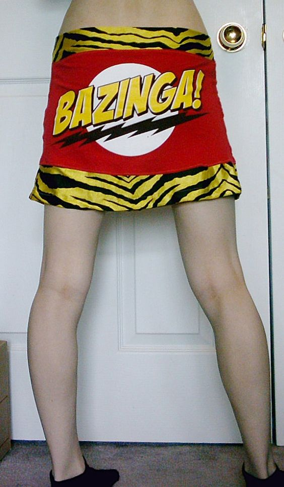 BAZINGA Skirt DIY Yellow Zebra OOAK Upcyc by bloodshredrecords, $28.00