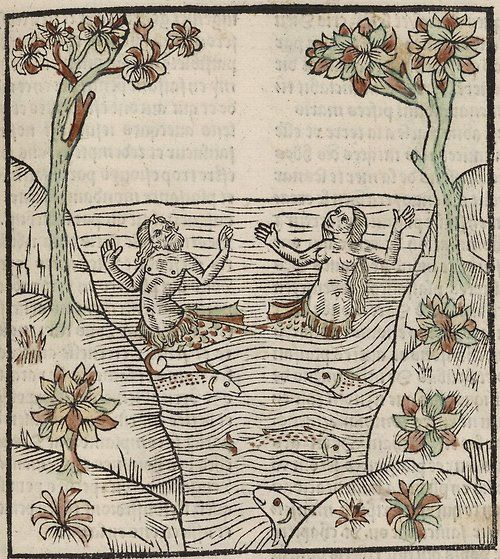 """ Mermaid and Merman Looking to the Heavens ""  …  From the ""Ars Moriendi"" (The Art of Dying) … Circa 1450:"