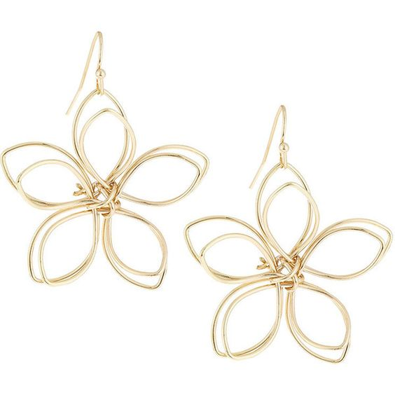 Lydell NYC Golden Wire Flower Drop Earrings ($14) ❤ liked on Polyvore featuring jewelry, earrings, gold, wire earrings, drop earrings, golden earring, wire jewelry and flower drop earrings