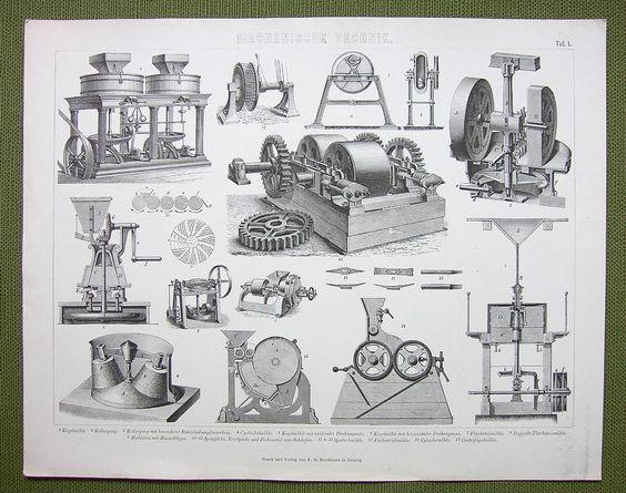 MILLS Machinery Roller Centrifugal Stone Duplez - 1870s Print Engraving | eBay