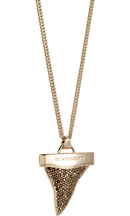 Givenchy Gold Strass Mini Shark Tooth Pendant Necklace