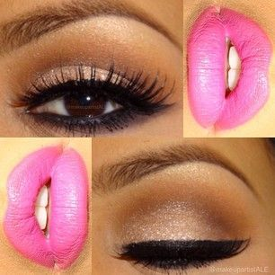 Terracottas Shades with touch of Glitter& Pink Lips