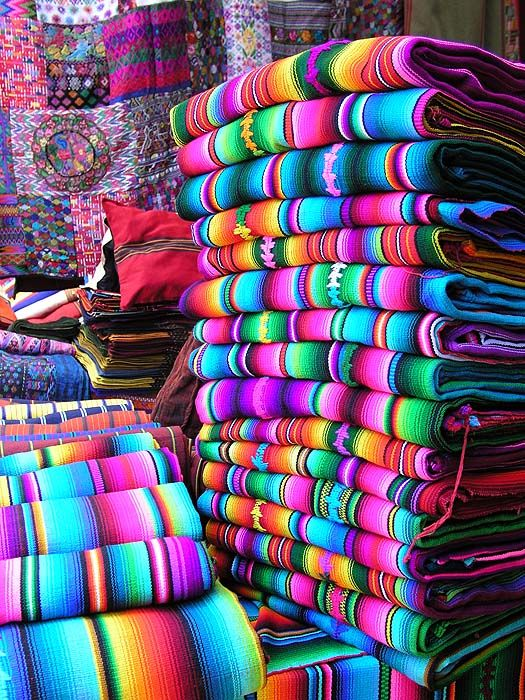 Textiles in the market. Chichicastenango, Guatemala.