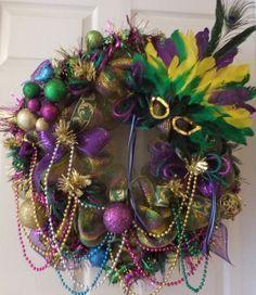 Image Result For Easy Mardi Gras Wreath Mardi Gras Wreath Mardi Gras Decorations Mardi Gras
