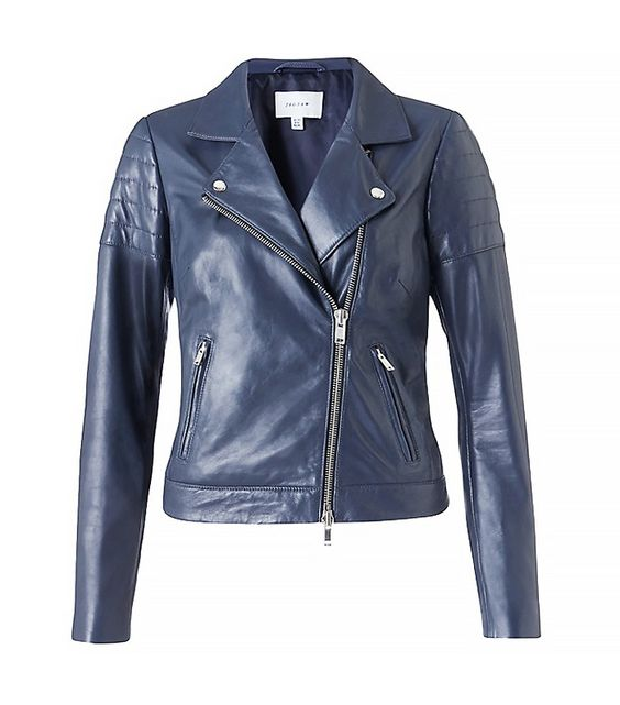 Dark navy blue leather jacket – Modern fashion jacket photo blog