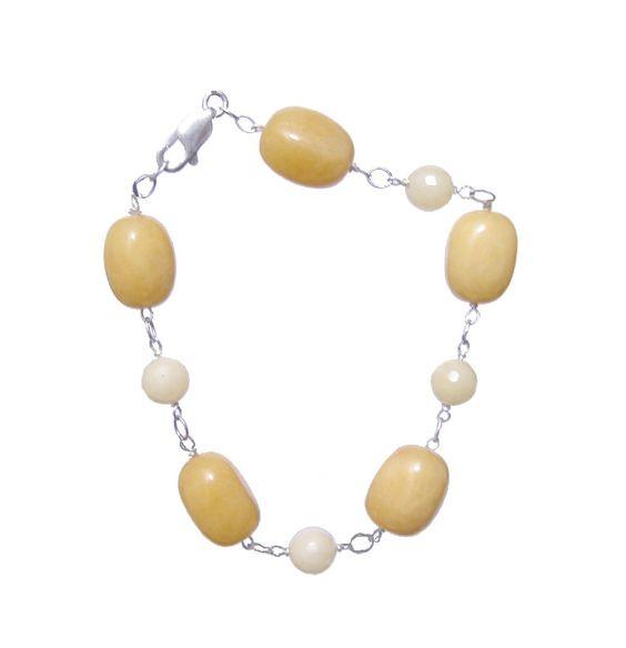 Jade Yellow Oval  Stones, 925 Sterling Silver Bracelet- Handmade - Natural Stones - Jewelry - FREE SHIPPING de ArtGemStones en Etsy