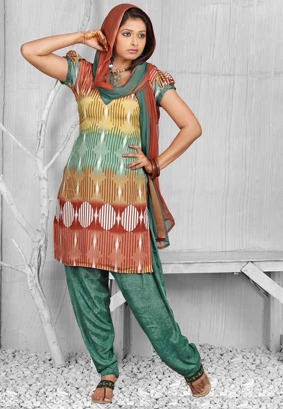 Rust, Mustard and Dusty Green Faux Crepe Salwar Kameez Online Shopping: KBJ14C