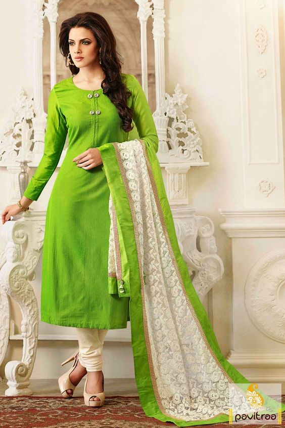 Lime white embroidery Salwar Suit is embellished with nice