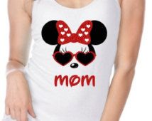 Ladies White Jersey Tank Top Personalized Minnie Mouse Heart Glasses with NAME…