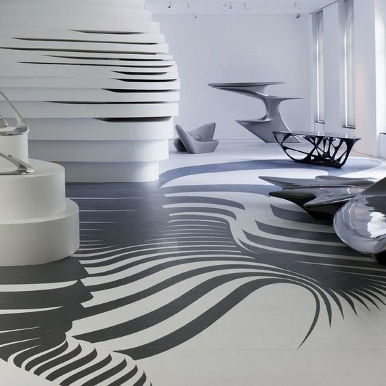 Top architects the floor graphics and design interiors for Interior design zaha hadid