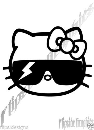 DECAL SUNGLASSES HELLO KITTY CUSTOM GRAPHICS WINDOW CAR TRUCK - Hello kitty custom vinyl decals for car