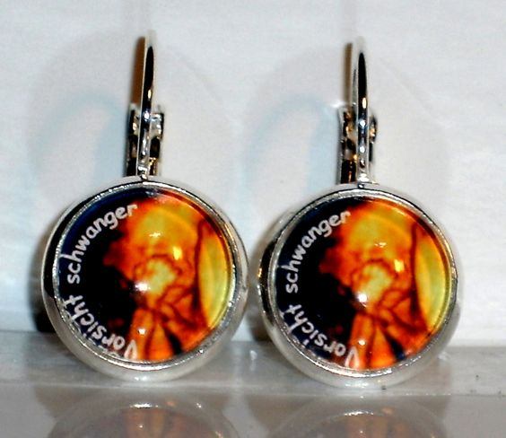 Ausgefallene Ohrringe Vorsicht Schwanger handgemacht und verrückt von Verrückte Ohrringe und Schmuck Welt