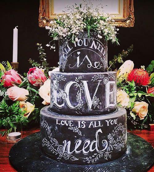 Pasteles de bodas estilo pizarra