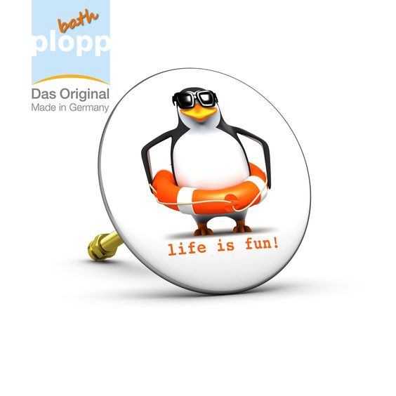 """bath plopp """"Pinguin, life is fun"""". Unsere Stöpsel für die Badewanne bieten Ihnen maximales Badevergnügen. #Bad #plopp #bath #bathroom #Badezimmer #Geschenkidee #Badewanne"""