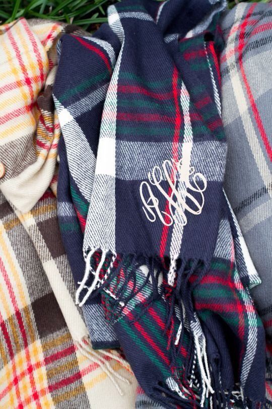 monogrammed plaid scarf                                                                                                                                                                                 More