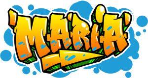 Diseño de graffiti de nombre María con estilo de letra angulada