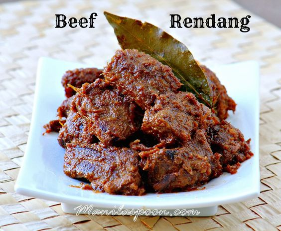 BEEF RENDANG - Chunks of beef are slowly cooked in coconut milk and ...