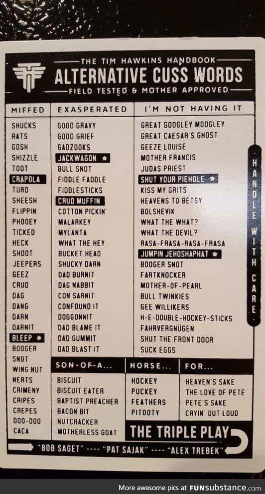 Great Googley Moogley Funsubstance Word Alternative Cuss Words Words