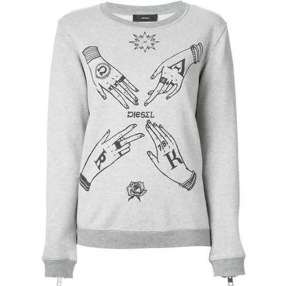Diesel Fradi Sweatshirt featuring polyvore, fashion, clothing, tops, hoodies, sweatshirts, grey, cotton sweat shirts, gray sweatshirt, sweat shirts, diesel sweatshirt and grey sweat shirt