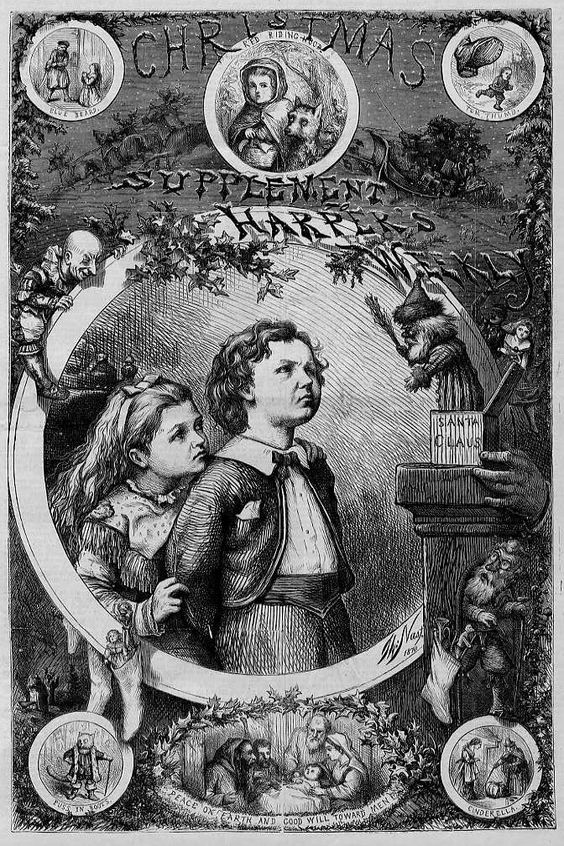 "This genuine antique wood-cut engraving/print is titled ""CHRISTMAS SUPPLEMENT HARPER'S WEEKLY"", by THOMAS NAST, published in ""Harper's Weekly"" December 1870. Description from ebay.com.au. I searched for this on bing.com/images"